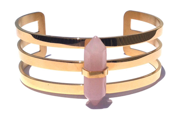 Gold Steel and Rose Quartz Precious Stone Adjustable Woman Bangle