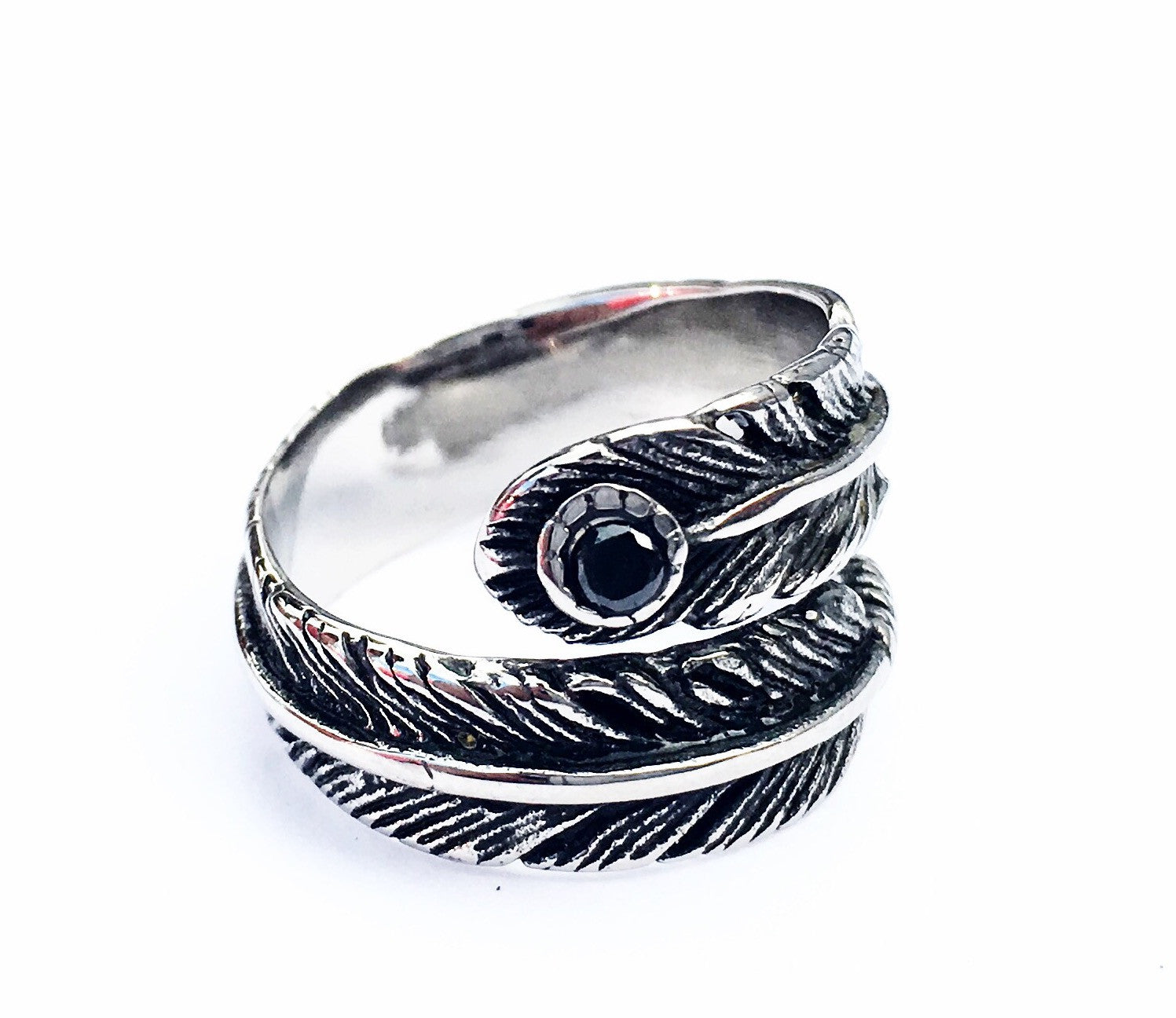 Steel Sheet and Black Stone Woman Ring