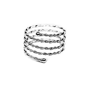 SILVER TWISTED ROPE STYLE COIL RING