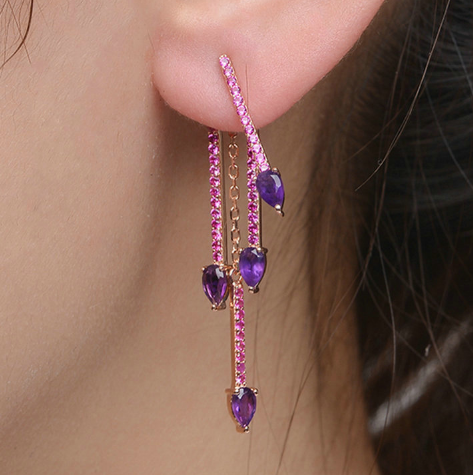 Natural Amethyst 925 Silver Rose Gold Earrings