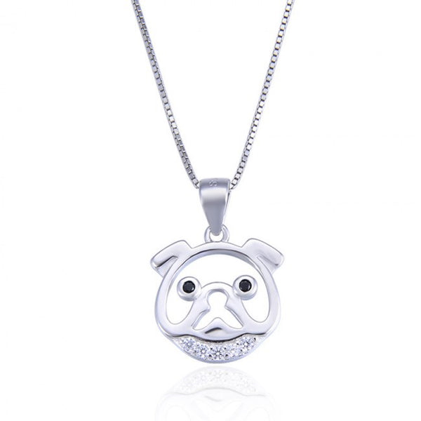 Cute Animal CZ Dog Head 925 Sterling Silver Pendant