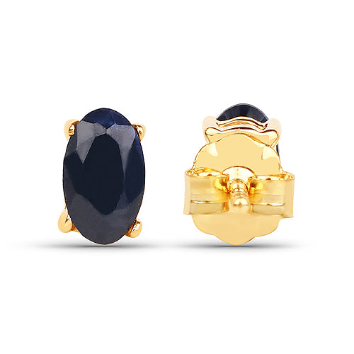 Solid Gold 0.70 Carat Blue Sapphire Earrings