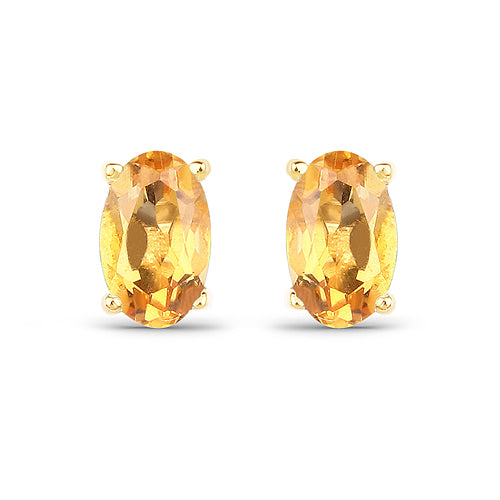 Solid Gold 0.44 Carat Citrine Earrings