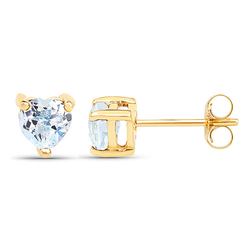 Solid Gold 0.70 Carat Blue Topaz Earrings
