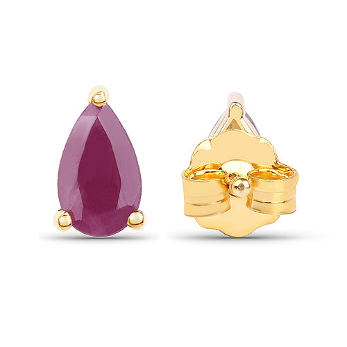 Solid Gold 0.50 Carat Ruby Earrings