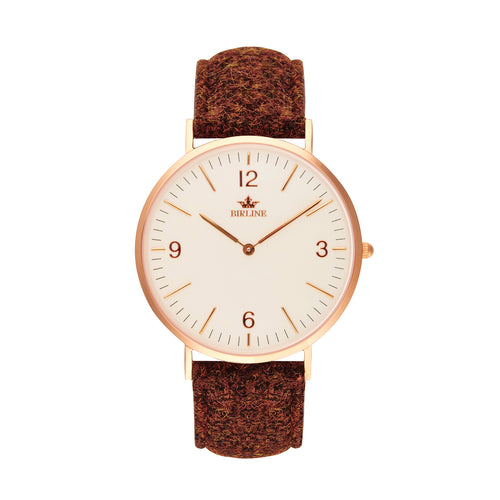 Carloway | Rose Gold | 36mm - Harris Tweed Watch - Birline