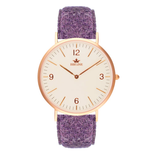 Woodley | Rose Gold - Harris Tweed Watch - Birline