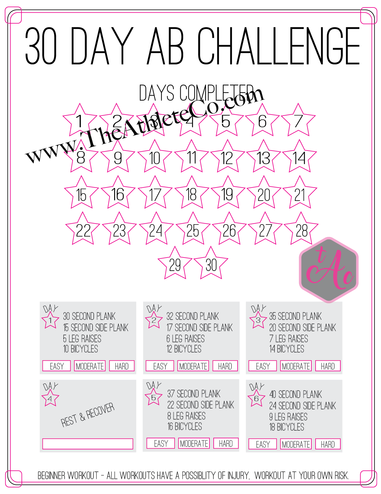 It is an image of Printable 30 Day Ab Challenge within pdf