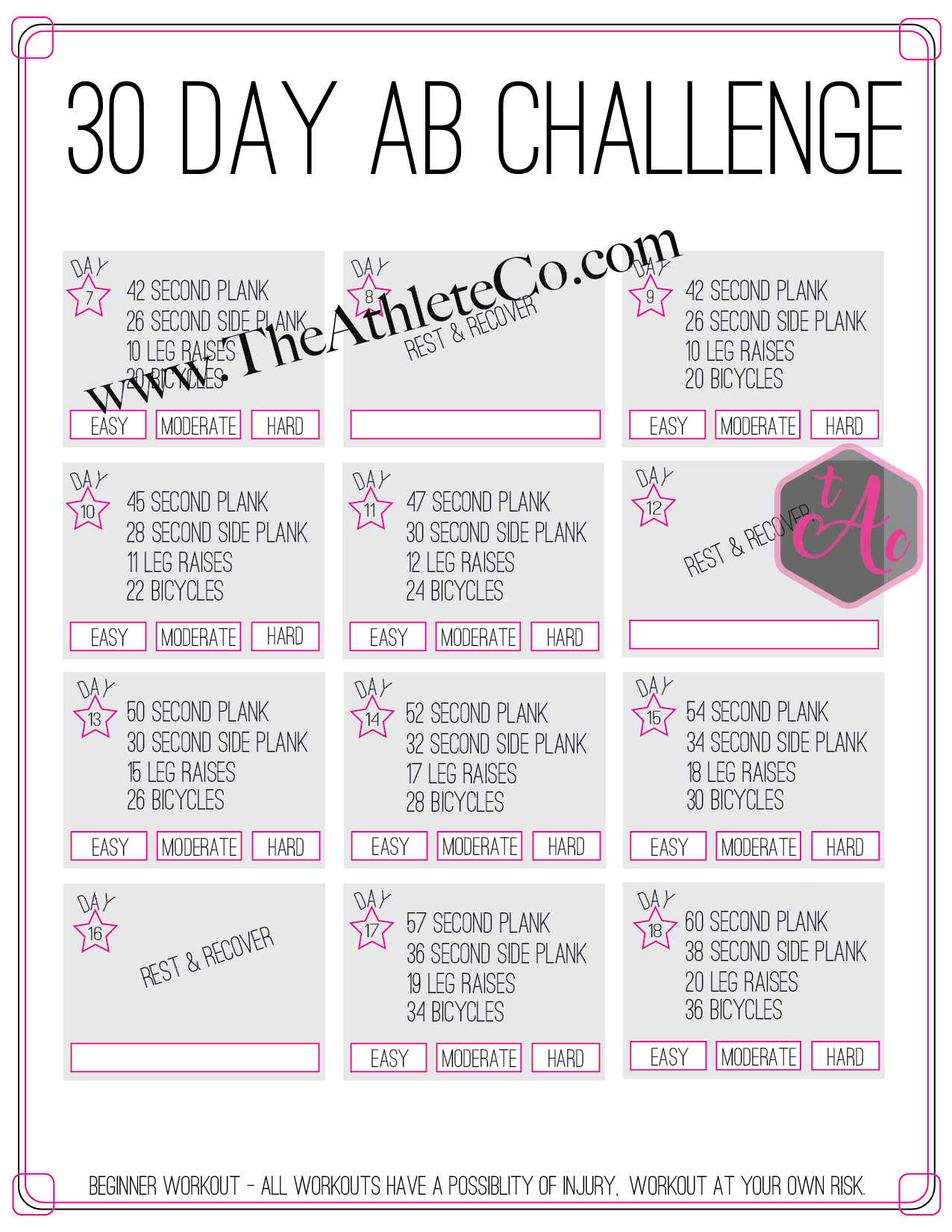 This is a photo of Sweet Printable 30 Day Ab Challenge