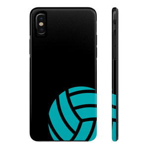 Teal and Black Volleyball Phone Case