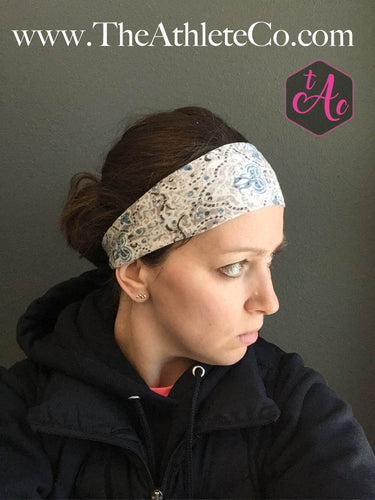 blue and gray headband