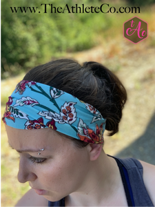 Floral Fire and Sky Knit Headband