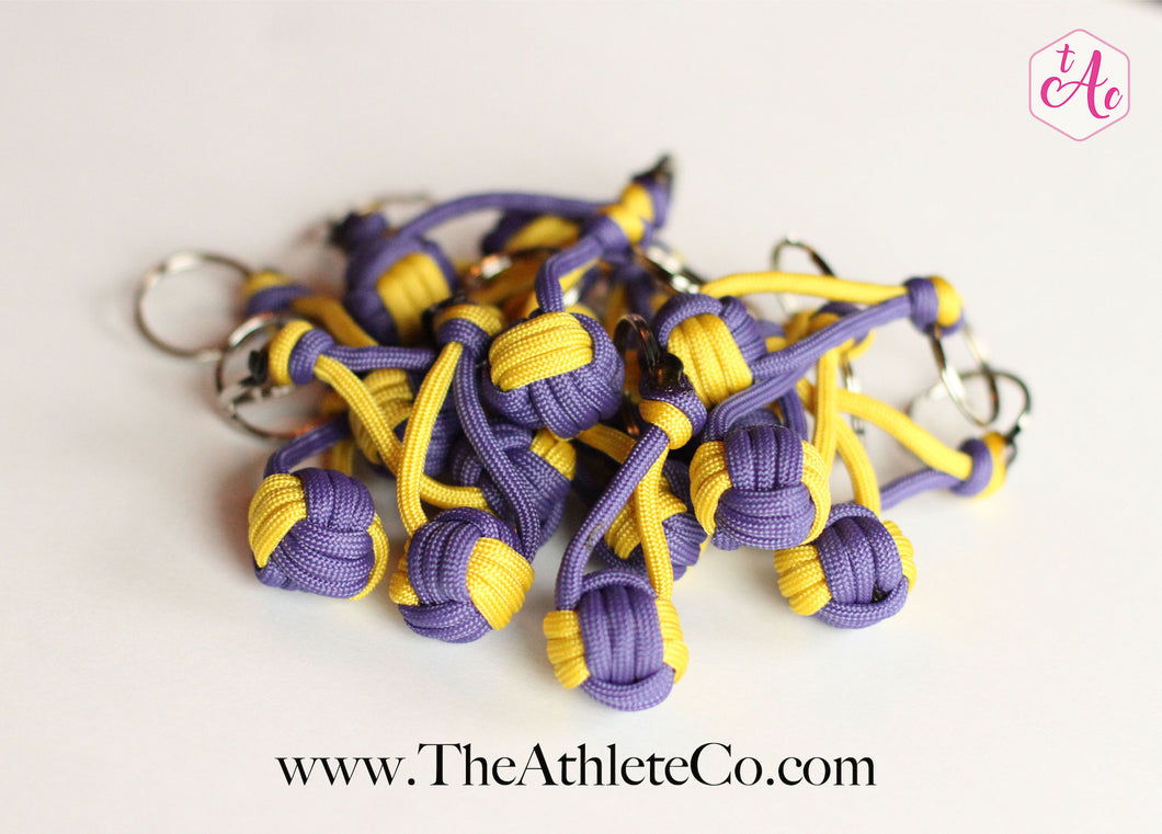 Purple and Yellow Volleyball Keychains