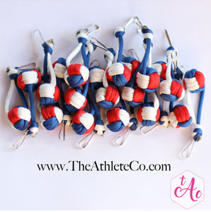 red white and blue volleyball keychains