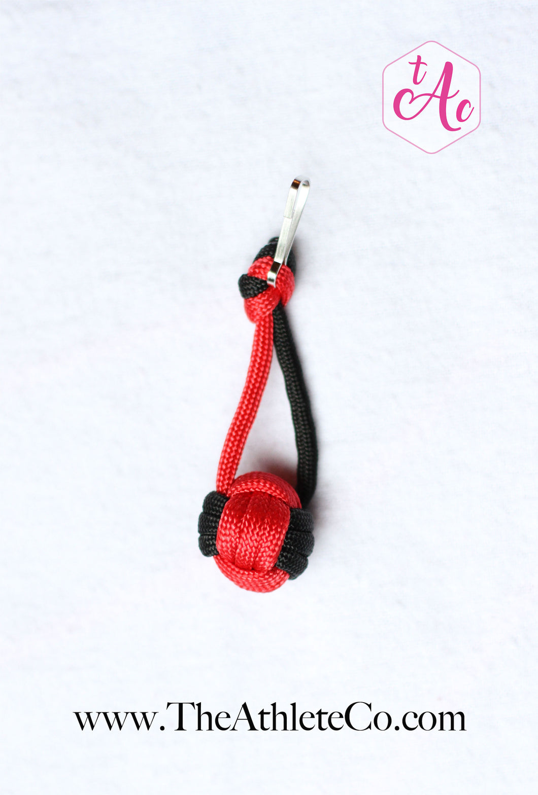 red volleyball paracord keychain