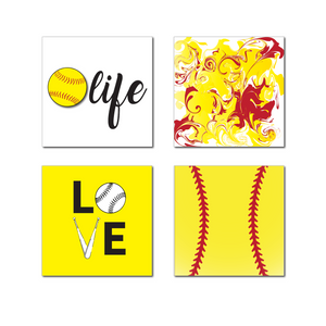Softball Magnets 4 Pack