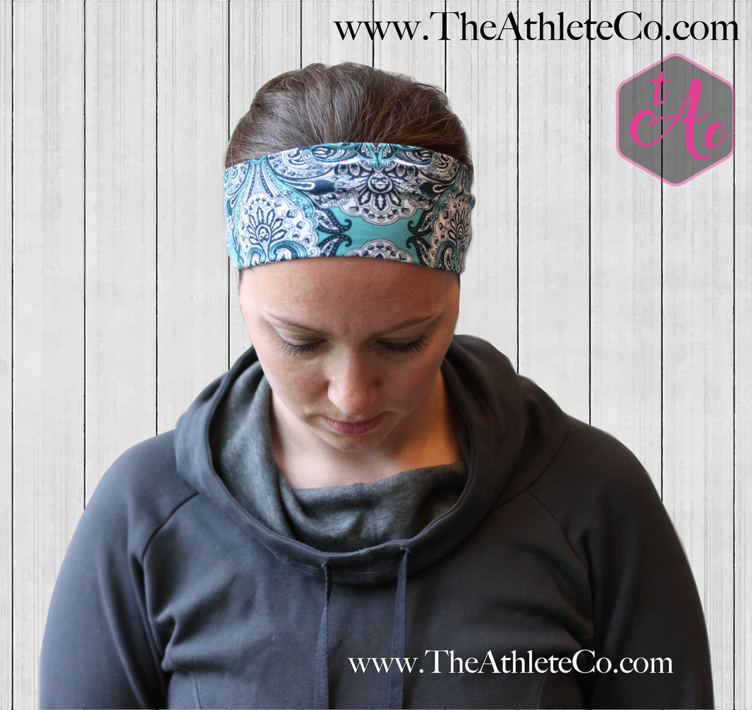 Mandala Teal and Navy Headband