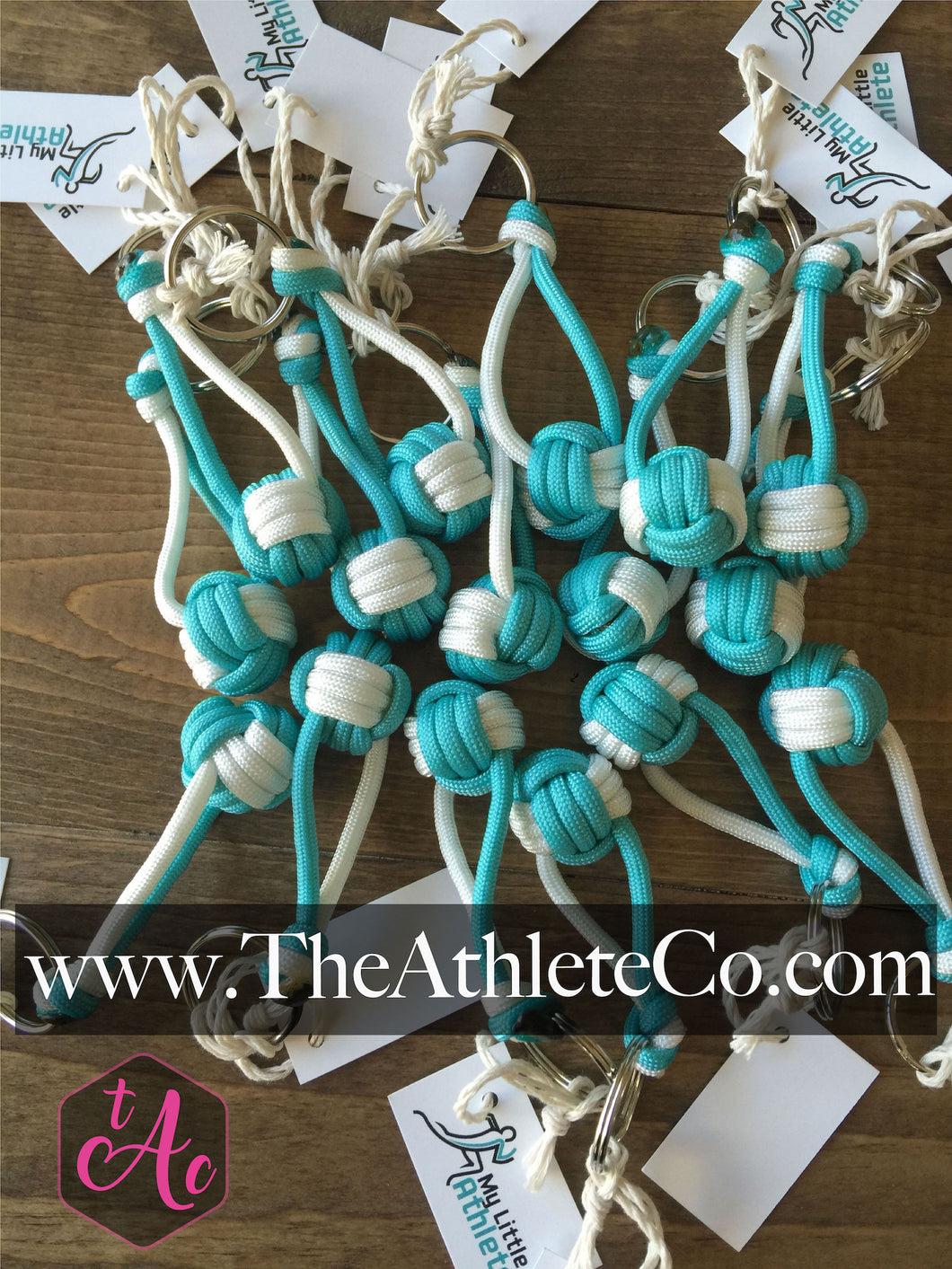teal volleyball paracord keychains