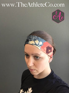 Floral Orange and Gray Headband