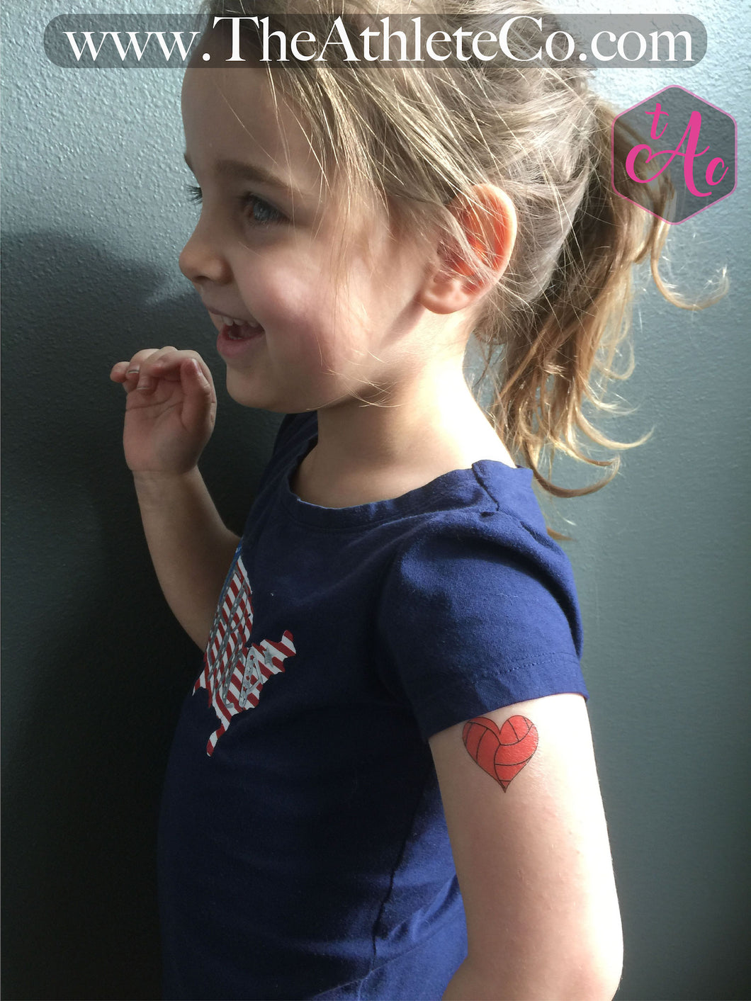 heart volleyball temporary tattoo