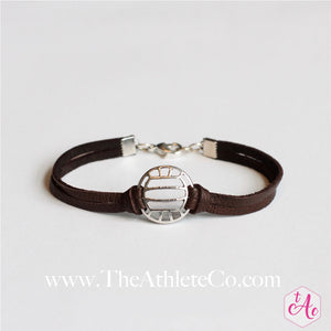 volleyball bracelet brown leather
