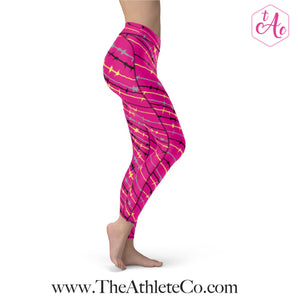 pink and yellow athletic leggings
