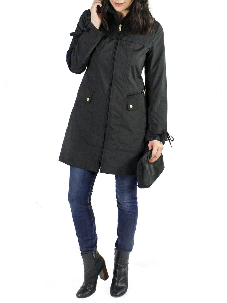 blogger.com: Cole Haan Women's Single Breasted Raincoat with Back Pleating, Black, Small: Clothing