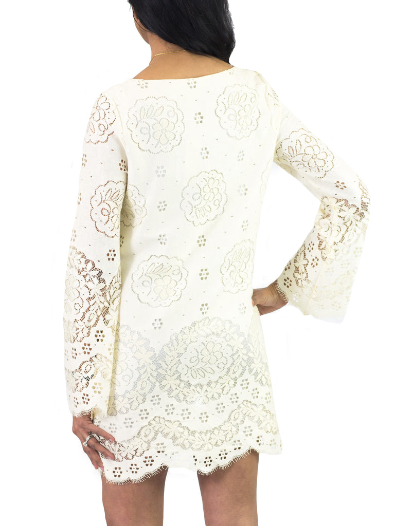 Twelfth Street By Cynthia Vincent Lace Up Bell Sleeve Dress