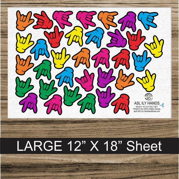 ASL ILY Hands Flannel Board Felt Set