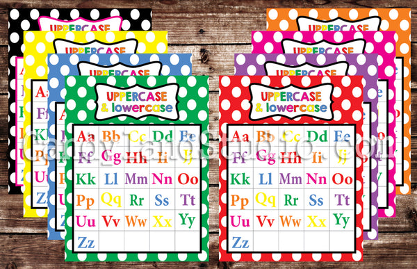 Printable Educational Alphabet Charts in 8 Color Options - PDF JPG
