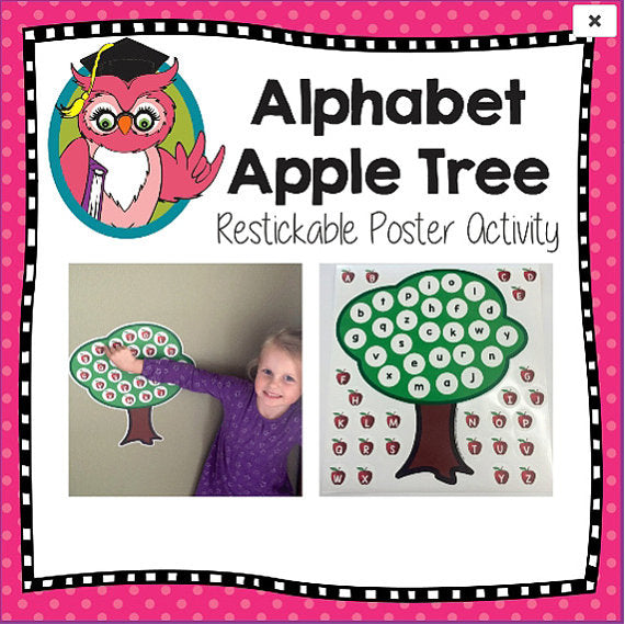 Restickable Alphabet Apple Tree Literacy Poster Game