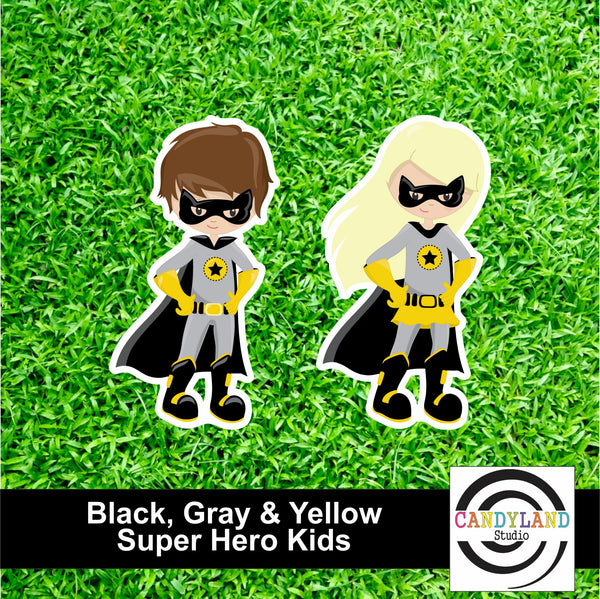 Super Hero Kids - Black, Gray & Yellow