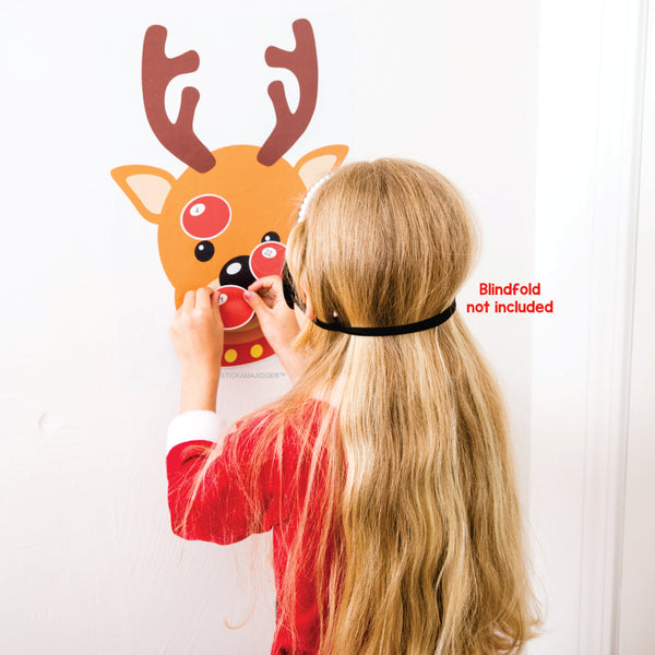 STICKAMAJIGGER™ Poster Game - Stick the Red Nose on the Reindeer. Blindfold not included.