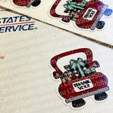 "Christmas Truck ""Thank You"" Stickers"