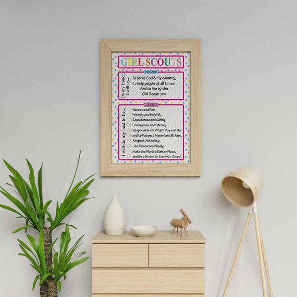 Pink Polka Dot Digital Download Girl Scout Promise & Law Poster