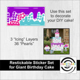 Giant Birthday Cake Restickable Decoration Set