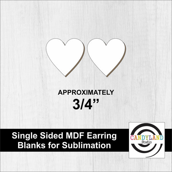 "Heart Earring Blanks 3/4""- Single Sided MDF"