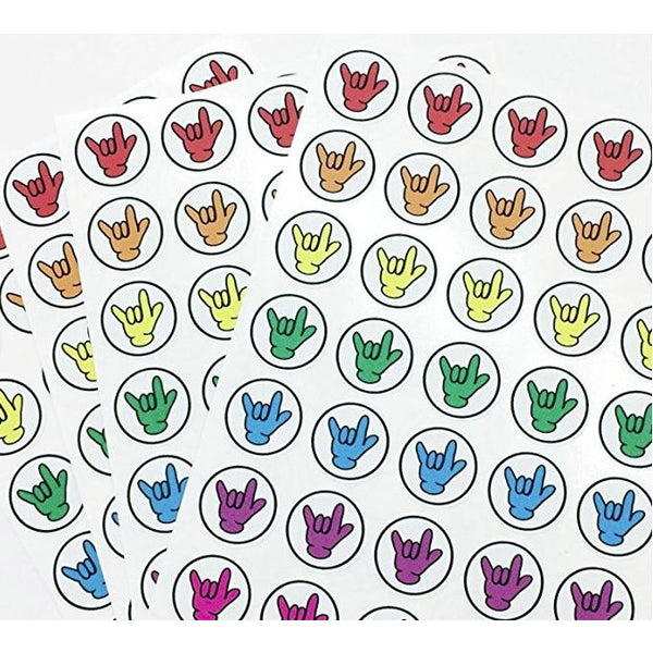 "Set of 140 Rainbow American Sign Language ASL ""ILY"" Glove Hand Stickers / Envelope Seals"