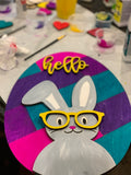 Unfinished Bunny & Shiplap Egg Hello Sign