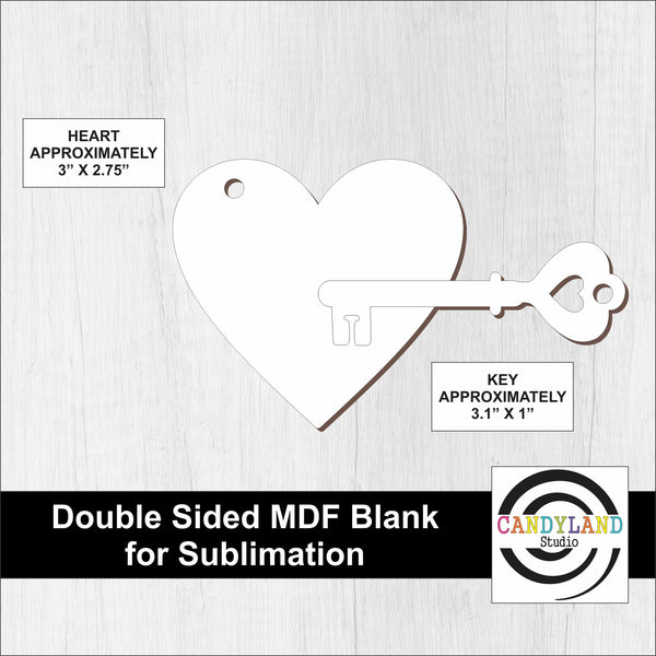 Heart + Key MDF Blanks - Double Sided