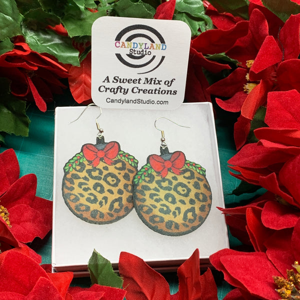Lightweight Leopard Ornament Felt Earrings