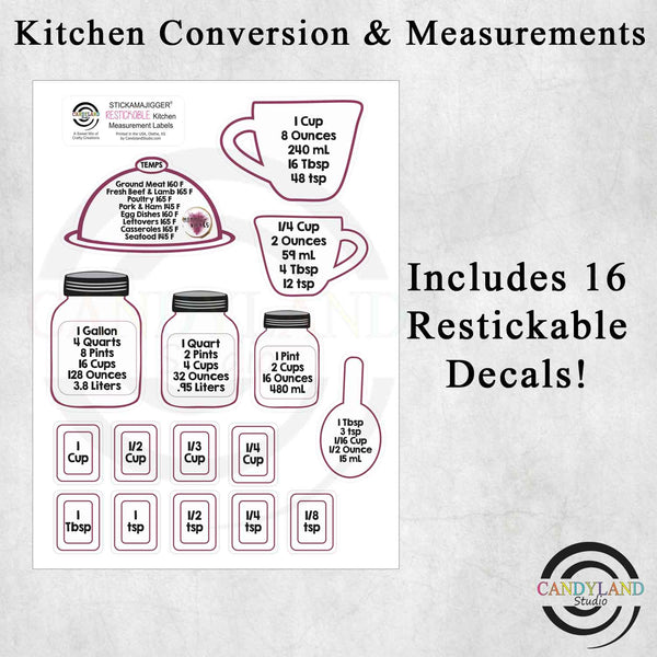 Momma's Meals Kitchen Measurement Conversion Stickers