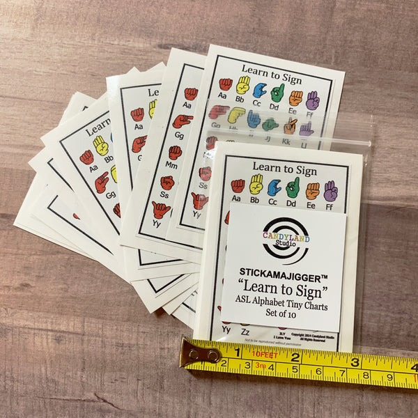 Set of 10 American Sign Language Tiny Charts - Peel & Stick Cheat Sheet