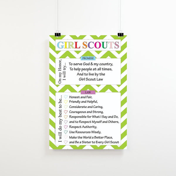 photograph about Girl Scouts Promise Printable identified as Electronic Obtain Female Scout Ensure Legislation Poster