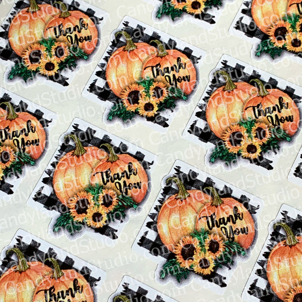 "Buffalo Plaid Pumpkin & Sunflower ""Thank You"" Stickers"