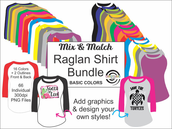 Mix & Match Raglan Long Sleeve Shirt Graphics