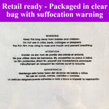Each order comes packaged in a clear bag with suffocation warning.