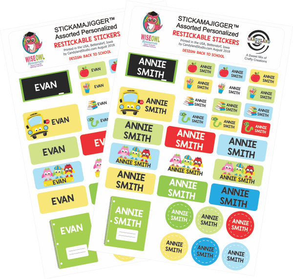 Back to School Restickable Name Labels