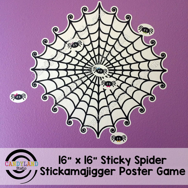 Halloween Sticky Spider Restickable Poster Game