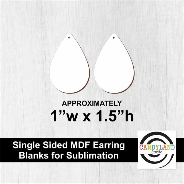 Teardrop Earring Blanks - Single Sided MDF